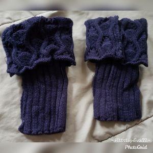 Navy Blue Crocheted Boot Cuffs